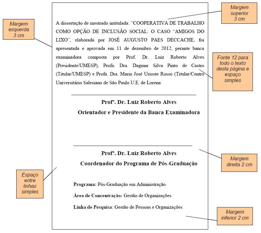 Modelo da Folha de Aprovação