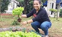 Horta comunitária rende 1ª safra no campus Vergueiro